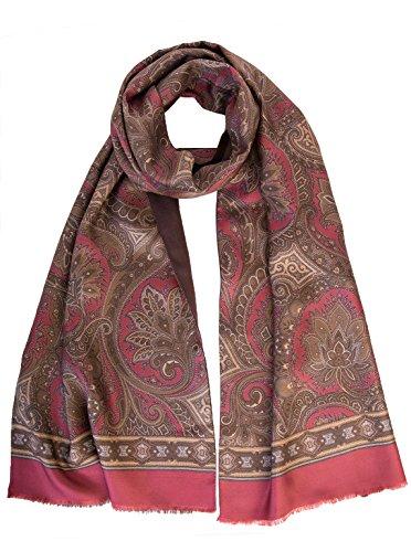 Elizabetta Men's Italian Silk Scarf - Paisley Print - Soft Wool Lined-Burgundy & Brown by Elizabetta (Image #1)