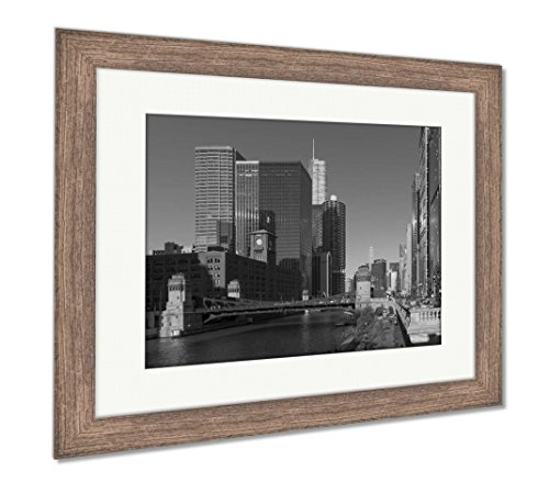 Ashley Framed Prints Chicago Downtown Architecture, Wall Art Home Decoration, Black/White, 26x30 (frame size), Rustic Barn Wood Frame, AG6355633