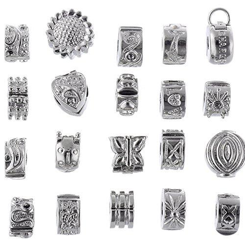 RUBYCA 40pcs Mix Lot of Silver Color Clip Lock Stopper Clasp Beads DIY fit European Charm Bracelet -