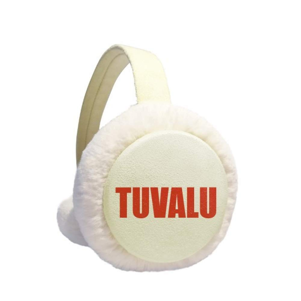 Tuvalu Country Name Red Earmuff Ear Warmer Faux Fur Foldable Outdoor
