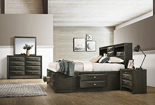 Leslie Bookcase Headboard Platform King Bed Set: Dresser, Mirror, Night Stand
