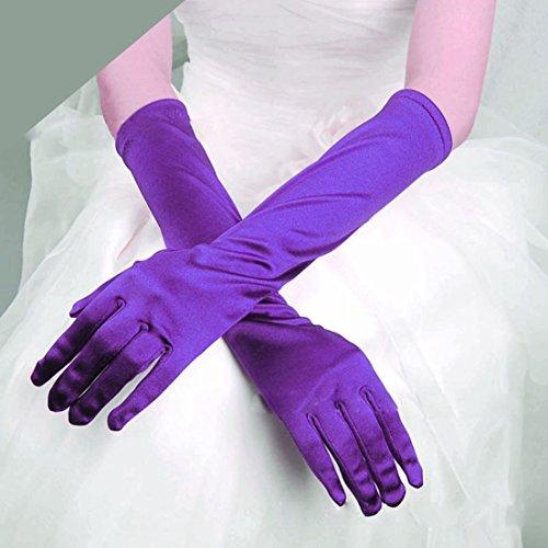 [1-Pc (1-Pair) Dashing Popular Hot Long Satin Gloves Smooth Silky Girl Prom Women Fashion Color] (Billiard Girl Costume)