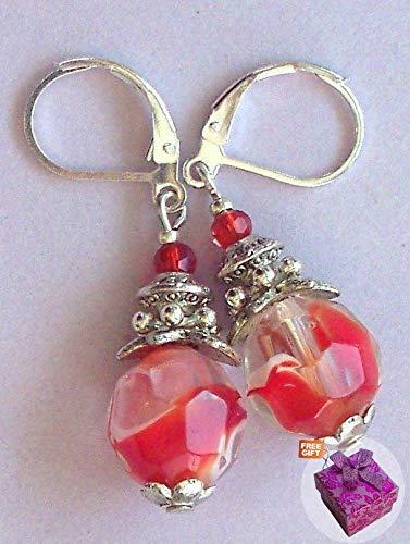 Red Orange Swirl Lampwork Red Crystal Earring Gp Leverback Artisan Earrings For Women Set + Gift Box For Free ()