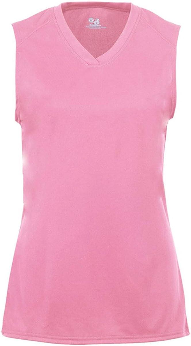 2163 Badger Sport Youth GirlsSleeveless V-Neck T-Shirt Large Pink