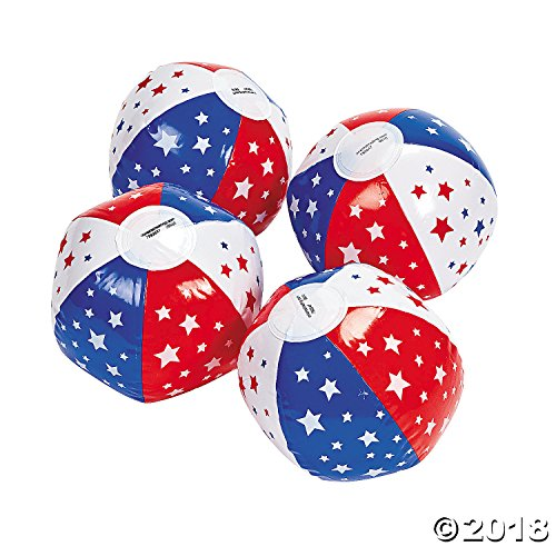 12 Inflatable Patriotic Star Mini Beach Balls/Water & Pool Toys ()