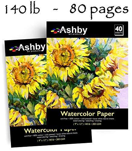 30 Sheets 9 X 12 Watercolor Paper 140lb//300gsm Fold Over Design Cold Press Pad