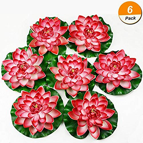 Chasoeo Artificial Floating Foam Lotus Flowers,Fake Ponds Lotus Leaves Flowers,Floating Pond Decor Water Lily,6 PCS Realistic Water Lily Pad Ornaments for Patio Pond Pool Home Garden (Rose Red)