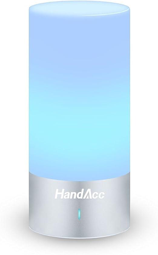 HandAcc Lámpara de Mesa Táctil Luz de Ambiente de noche relajante con sucesión de colores RGB Blanco caliente luz regulable 360˚ iluminación: Amazon.es: Iluminación