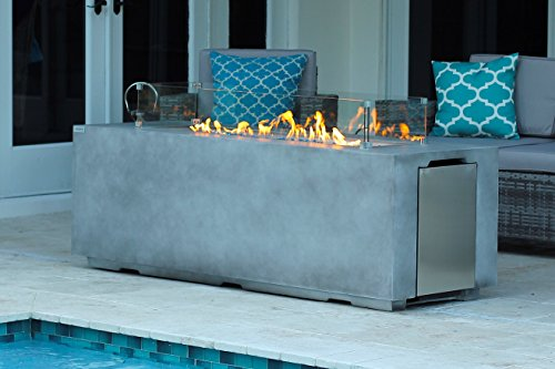 """AKOYA Outdoor Essentials 70"""" Linear Rectangular Modern Concrete Fire Pit Table w/Glass Guard and Crystals in Gray (Caribbean Blue)"""