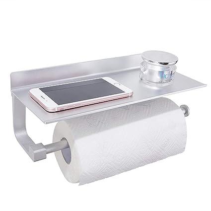 GERUIKE Portarrollos De Cocina con Estante Portarrollos de Papel de Cocina con Estante Adhesivo Portarrollos de Papel higiénico Aluminio Inoxidable ...