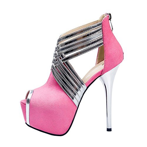 Fereshte Womens Sexy Fashion Peep-toe Stripe Sandals Super High Heels Pink EU Size 38 - US B(M) 7.5