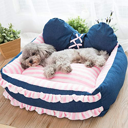 DLJFU - Washable Dog Bed with Denim Cover, Dog Sofa, Princess Style Dog Kennel (Size : S)
