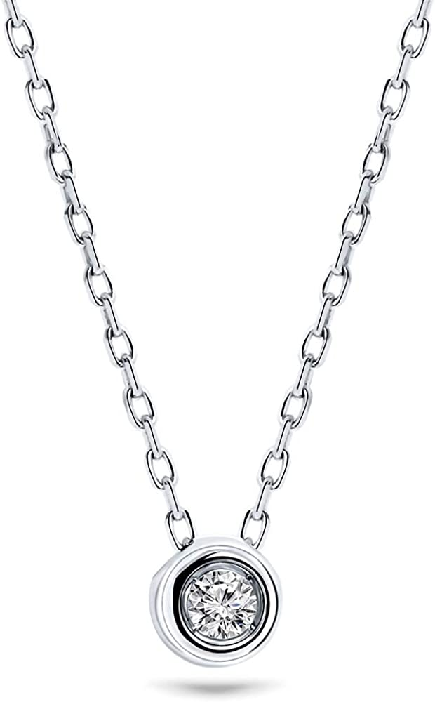 Miore - Cadena para mujer de 0,05 ct, solitario y diamante, collar de oro blanco de 9 quilates / oro 375, longitud de 45 cm, joya con diamante brillante