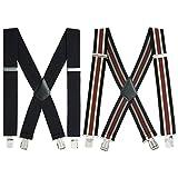 Mens X-Back Heavy Duty Work Suspenders 2'' Wide Adjustable Elastic Clip Suspenders 2pc(Black/Striped)
