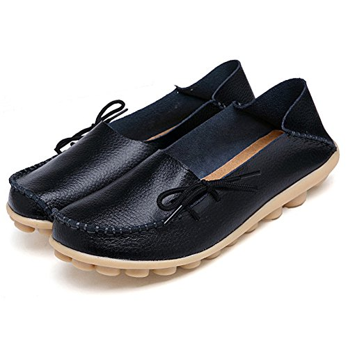 Adibosy Women Slip On Flats Leather Casual Loafers Oxfords Shoes Black 10.5