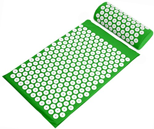 BalanceFrom Acupressure Mat and Pillow Set for Back and Neck Pain Relief and Muscle Relaxation Massage (Green)