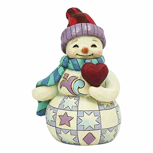 "Enesco Jim Shore Heartwood Creek Mini Snowman with Heart Stone Resin Figurine, 3.5"" ()"