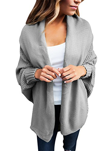 an Sleeves Sweater Draped Open Cardigan Tops Grey Large 12 14 ()