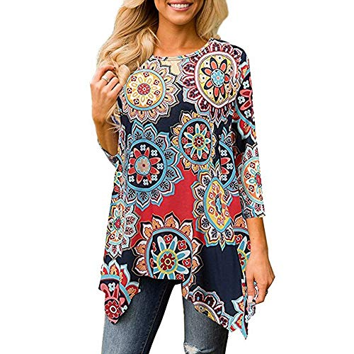 Amlaiworld Fashion Women Plus Size T Shirt Summer Casual Tee Tops O Neck Floral Print Three Quarter Sleeve Shirt Blouses Tops Navy