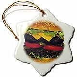 Sandy Mertens Hamburger Deluxe Snowflake Porcelain Ornament, 3-Inch