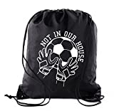 Cheap Soccer Party Favors | Soccer Drawstring Backpacks for Birthday Parties, Team events, and much more! – 6PK Black CA2500SOCCER S2