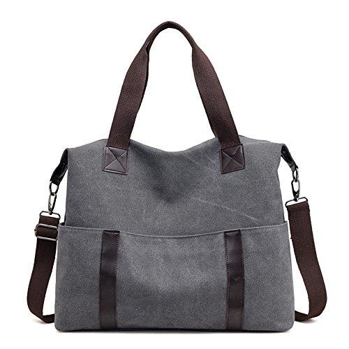 Meaeo Bolsa Bolsa Bolsa De Lona De Ocio Todos-Match Portable Moda Bolsa De Ocio,Brown gray