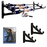 Fishing Rod Wall Rack - Ultra Sturdy Strong Weatherproof Holds 3 Rods - Space Saving Organizer for Hiking Poles, Ski Poles, Hokey Sticks and Fishing Rods