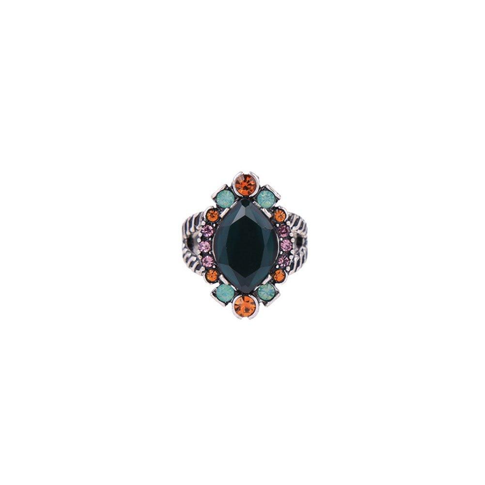 Leisial Anello Stile Retrò Intarsio di Cristallo Forma Geometrica Ovale Cristallo Colorato Donna Lega Anello 2510A0FRCL29ONDGKC
