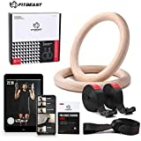 FitBeast Wood Gymnastic Rings, Olympic Rings 1600lbs with Adjustable Buckle 15ft Long Straps Gym Exercise Rings Non-Slip Training Rings for Cross-Training Workout and Home Gym Full Body Workout