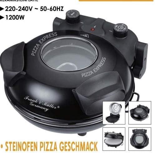 Pizzamaker Express Pizzaofen 1200W 350C Keramiksteinplatte 32cm Sichtfenster Schwarz