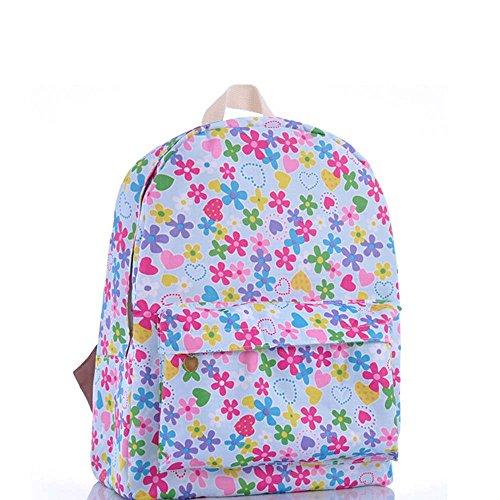 OUFLY lindo púrpura de color púrpura crisantemo floral pastoral estilo lona mochila de impresión mochila viaje mochila impreso mochila hombro bolsa de escuela escuela bolsa de la escuela Flor rosada y azul y verde
