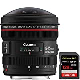 Canon EF 8-15mm f/4L Fisheye USM Ultra-Wide Zoom Lens for EOS SLR Cameras (4427B002) + Sandisk Extreme PRO SDXC 128GB UHS-1 Memory Card