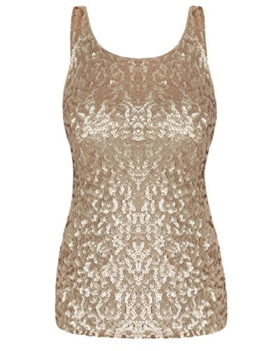 kayamiya Women's 1920S Style Glitter Sequined Vest Tank Tops L Matte - Tank Womens Gold Top