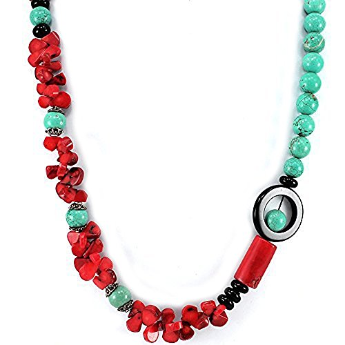 [011 Ny6design Blue Magnesite Turquoise, Red Coral & Black Onyx Beads Long Necklace 30