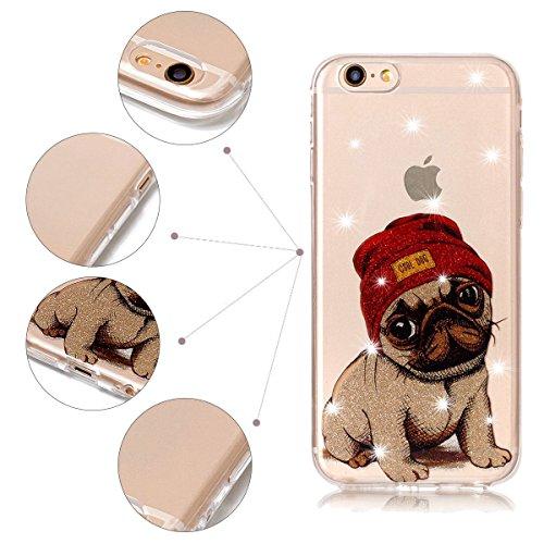 Funda iPhone 6 Plus / 6S Plus, iPhone 6 Plus Funda Silicona, SpiritSun Soft Carcasa Funda para iPhone 6 Plus / 6S Plus (5.5 pulgadas) Trasparente Carcasa Case Cristal Gel Protectora Carcasa Ultra Delg Perro