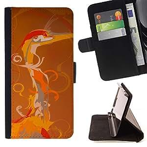 Beautiful Orange Bird Digital Art - Modelo colorido cuero de la carpeta del tirón del caso cubierta piel Holster Funda protecció Para Apple (4.7 inches!!!) iPhone 6 / 6S