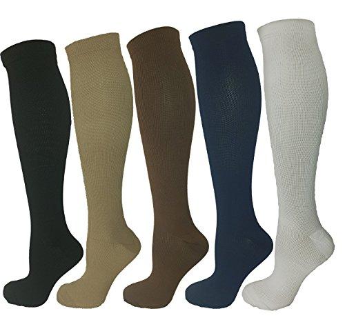 Ladies Compression Socks, Medium Compression 15-20 mmHg, Running, Nurses, Flight and Travel Knee-High Socks; Five Pair Assorted Colors (Black, White, Blue, Brown, Tan)