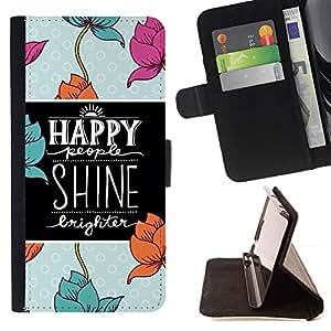For HTC One M7 Case , Cita Flores Azul Negro motivación- la tarjeta de Crédito Slots PU Funda de cuero Monedero caso cubierta de piel
