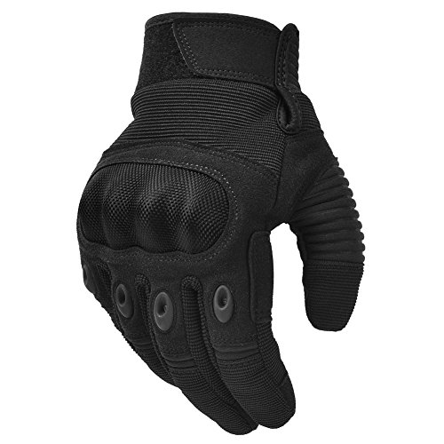 Hard Knuckle Tactical Gloves Motorcycle Gloves Motorbike ATV Riding Military Army Combat Full Finger Gloves for Men Airsoft Paintball Black X-Large