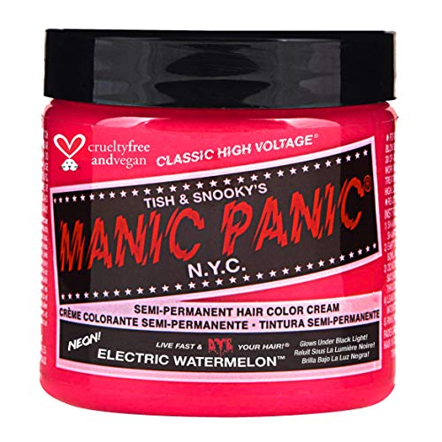 Manic Panic Electric Watermelon Pink Hair Dye (4oz) Classic High Voltage - Semi-Permanent Pink Hair Dye Glows Under Black Lights