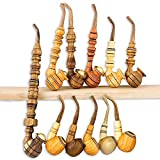 11 Pcs Handmade Smoking Pipes – Unique Wooden Tobacco Pipes for Smoking, Best Gift for Men Husband Dad For Sale