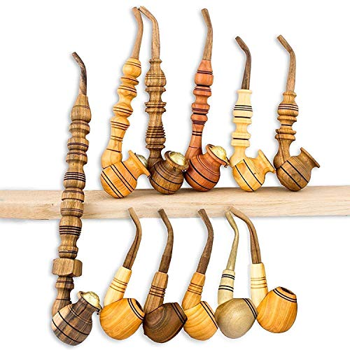 11 Pcs Handmade Smoking Pipes - Unique Wooden Tobacco Pipes for Smoking