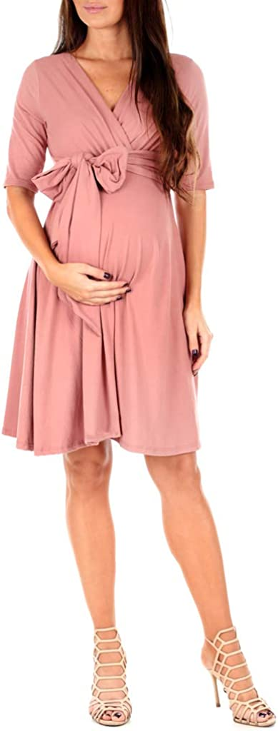 Mother Bee Maternity Women's Knee Length Wrap Dress with Belt