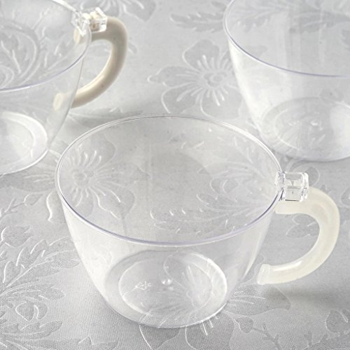 Efavormart 60 Pack 6oz Plastic Disposable Coffee Cups with Handle for Party Event -