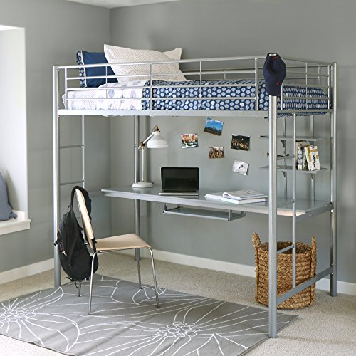 Walker Edison Twin Metal Loft Bed with Workstation, Silver (Space Desk Length Saver)