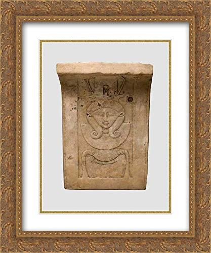 Late Period-Ptolemaic Period - 20x24 Gold Ornate Frame and Double Matted Museum Art Print - Relief Plaque of Hathor Emblem, Curved as if from a Temple Frieze