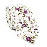 DAZI Men's Skinny Tie Floral Print Cotton Necktie, Great for Weddings, Groom, Groomsmen, Missions, Dances, Gifts. (Sweetly Picked)