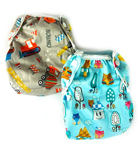 GiantKids 2pcs Bundle One Size Fits All Reusable Swim Diapers (Trucks and Owls)
