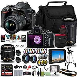 Nikon D3500 DSLR Camera with 18-55mm and 70-300mm Lenses (1588) USA Model + 4K Monitor + 2 x 64GB Extreme Pro Card + 2 x…