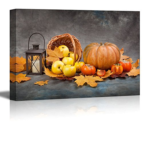 wall26 - Canvas Prints Wall Art - Pumpkin,Apples, Autumn Leaves and Lattern | Modern Wall Decor/Home Decoration Stretched Gallery Canvas Wrap Giclee Print. Ready to Hang - 24